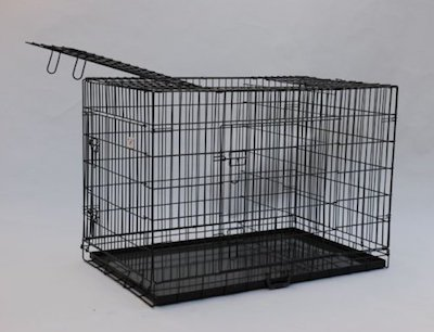 if you need a threedoored large metal dog crate that folds flat for portability give this kennel a look youu0027ll appreciate the top third door - Collapsible Dog Crate