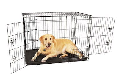 Sometimes, Even Big Dogs Need To Squeeze Into Small Spaces. Enter This  Compact, Double Door Large Metal Dog Crate From Carlson: Sporting An  All Steel ...