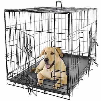 if standard kennels canu0027t stand up to your tough cookie this heavyduty large metal dog crate stays strong with materials