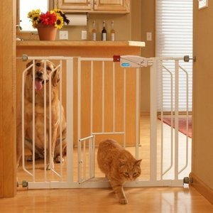 Genial Carlson Extra Wide Walk Through Gate With Pet Door 29 To 44 Inch