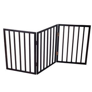 PETMAKER Freestanding Wooden Pet Gate Mahogany