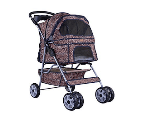 BestPet Extra Wide 4Wheel Pet Stroller with Rain Cover
