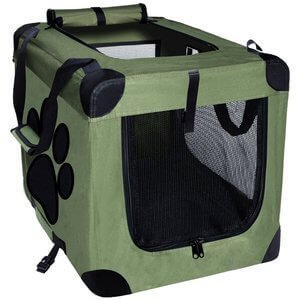 EXPAWLORER Collapsible Foldable Dog Crate, Indoor/Outdoor Pet Home, Deluxe Pet Carrier Green