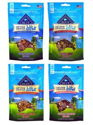 Blue Pack of 4 Buffalo Treats Bits Dog Treats