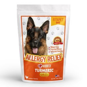 Fitapet Allergy Relief for Itchy Dogs – With Turmeric Omega-3 Quercetin and Bromelain - 60 Soft Chews