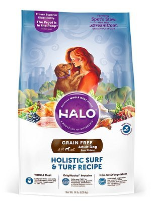 Halo Spots Stew Grain-Free Surf N Turf Food for Dogs