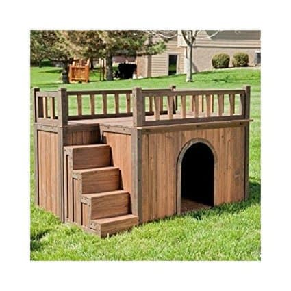 Boomer & George Wooden Outdoor Dog House with Balcony and Staircase
