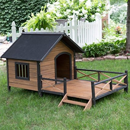 "PawHunt 67"" Large Wooden Cabin Style Dog House with Porch"