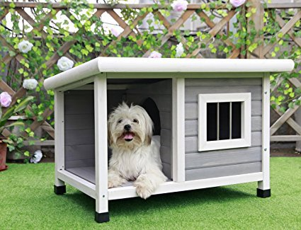 "Petsfit 33""L X 25""W X 23""H Outdoor Wooden Dog House"