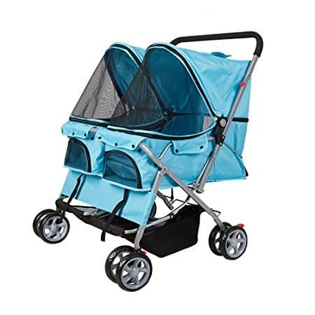 KARMAS PRODUCT 4-Wheel Twin Double Pet Stroller