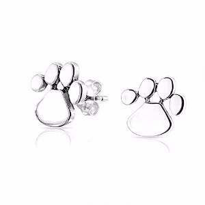 Bling Jewelry Polished Paw Print Stud earrings 925 Sterling Silver 10mm