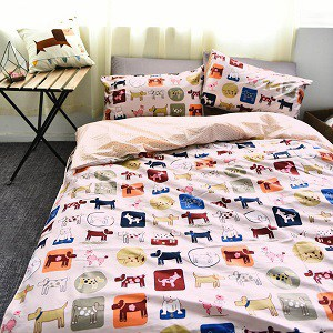 BuLuTu Bedding Sets Animal Puppy Dog Print Cotton Kids Duvet Cover Set