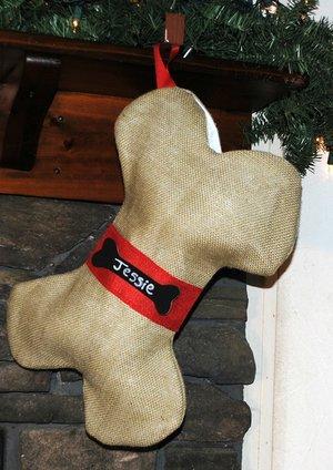 Burlap Dog Bone Christmas Holiday Stocking Red Ribbon & Name Tag