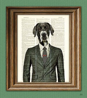 CollageOrama Maynard the Old Dog in Business Suit Great Dane Illustration