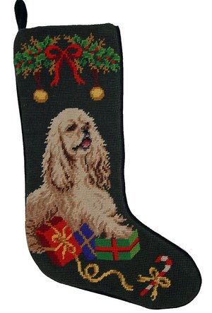 DE Cocker Spaniel Dog Needlepoint Christmas Stocking