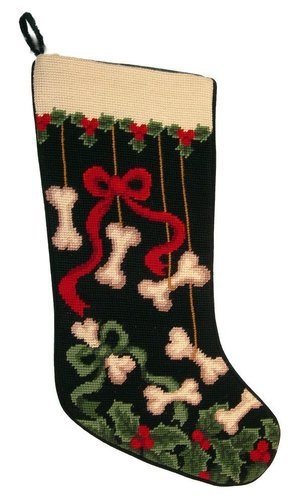 DE Dog Bones & Ribbons Dog Needlepoint Christmas Stocking