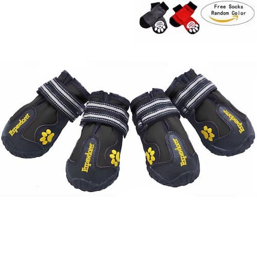 EXPAWLORER Waterproof Dog Boots with Reflective Velcro and Anti-Slip Sole 92507bb128eb