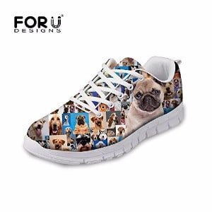 FOR U DESIGNS Cool Pug Papillon Print Men's & Women's Breathable Mesh Running Shoes