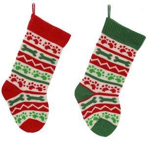 Family Dog Paw and Bone Acrylic Knit Christmas Holiday Stockings Set of 2