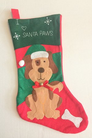 Felt Pet Christmas Stocking 16 Dog - I Love Santa Paws