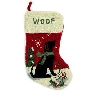 Glitzhome 19in Handmade Hooked Dog Christmas Stocking