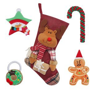 HBuir Dog Christmas Chew Toy Santa Bag Pet Festival Gifts
