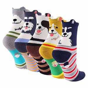 KEAZA Carton Cotton Dog Crew Socks