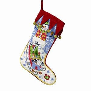Kelly Rightsell Snowman with Sledding Dog Christmas Stocking Wool Needlepoint Green & Red 17 Inch X 11 Inch