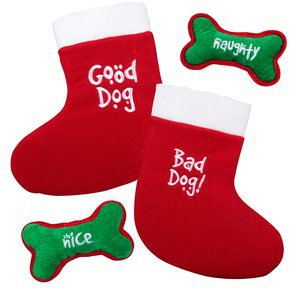 Kyjen Outward Hound Kyjen 2587 Dual Side Stocking Squeaker and Bone Combo Holiday Pet Accessory Medium Holiday Colors