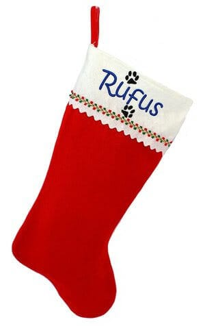 Monogrammed Me - Personalized Christmas Stocking Red and White Felt with Dog Paws