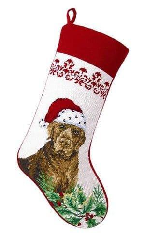 Peking Handicraft - Chocolate Labrador Retriever Needlepoint Dog Christmas Stocking