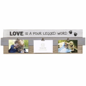 "Prinz 4"" x 6"" Paw Prints "" Love is a Four Legged Word"" Plaque with Clips"