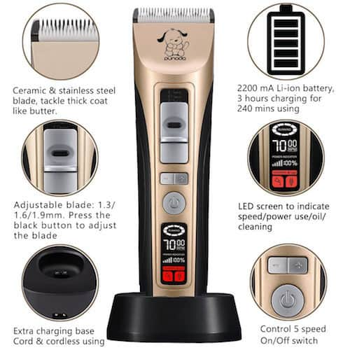Punada Professional 5-Speed Pet Grooming Clippers