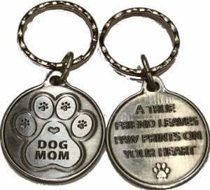 RecoveryChip Dog Mom - A True Friend Leaves Paw Prints On Your Heart Keychain