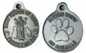 RecoveryChip Saint Francis of Assisi Patron Saint Of Pets / Protect My Pet Pewter Color Dog Cat Tag Charm