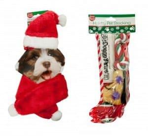 SunRise - Dog Christmas Holiday Stocking Pet Toys Gift Set with Santa Hat & Red Scarf