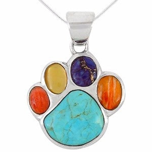 Turquoise Network Dog Paw Pendant Necklace