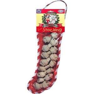 Vo-Toys Holiday Dog Stocking 8 White Minibones 10 Inch