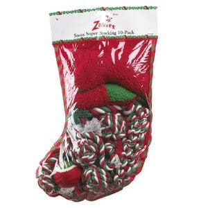 Zanies - Holiday Super Stocking For Dogs Includes TEN Dog Toys Festive Christmas Packs