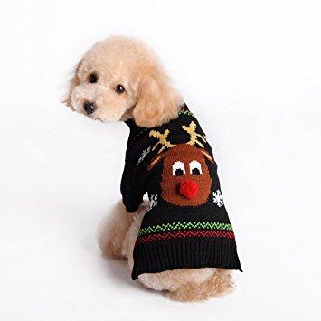 HAPEE Menpet Pet Holiday Cartoon Reindeer Dog Sweater