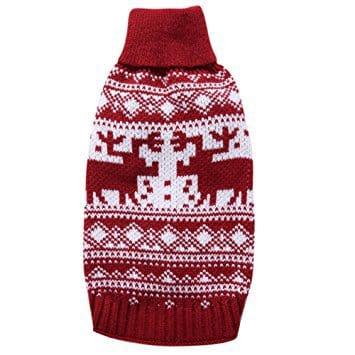 YZBear Pet Dog Sweater Red Christmas Reindeer