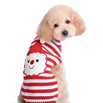 JIANLANPTT Christmas Red Striped Cartoon Santa Claus Sweater