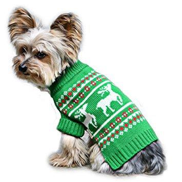 Stinky G Green Festive Reindeer Dog Sweater