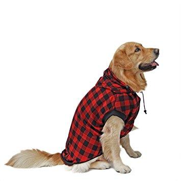 PAWZ Road Large Dog Plaid Shirt Coat Hoodie