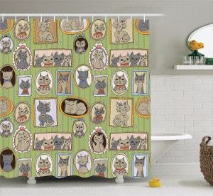 Ambesonne Cat Lover Decor Collection, Shower Curtain Set with Hooks
