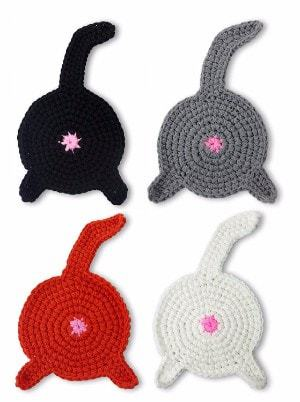 Crazy Cat Lady CAT BUTT Crochet Drink Coaster Set