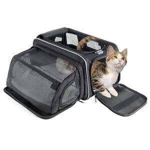 Fypo Expandable Carrier Crate for Dogs Cats Rabbits Small Puppies Soft Sided With Removable Fleece