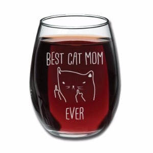 Gelid Best Cat Mom Ever Funny Wine Glass 15oz