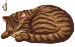 Hughapy Brown Cute Sleeping Cat Shaped Bedroom Area Rug