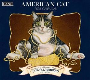 "LANG - 2018 Wall Calendar - ""American Cat"" - Artwork By Lowell Herrero"